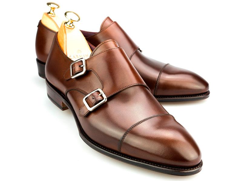 Carmina zapato de doble hebilla marrón lateral Luxabun
