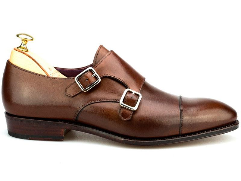 Carmina zapato de doble hebilla marrón lateral uno Luxabun